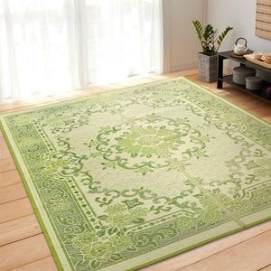 花柄 い草ラグマット 絨毯 / グリーン 240×330cm 6畳タイプ / 長方形 空気清浄 除湿効果 〔リビング ダイニング〕