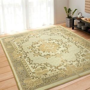 花柄 い草ラグマット 絨毯 / ブラウン 240×330cm 6畳タイプ / 長方形 空気清浄 除湿効果 〔リビング ダイニング〕