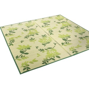 い草ラグ 176×176 江戸間2畳 グリーン リーフ柄 ラグマット リップ