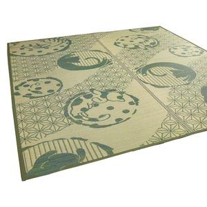 い草ラグ 176×230 3畳 グリーン 猫柄 ラグマット 和ネコ