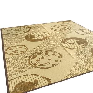 い草ラグ 176×230 3畳 ブラウン 猫柄 ラグマット 和ネコ