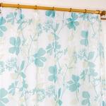 レースカーテン 2枚組 100×133 ブルー 花柄 南国風 タッセル付き Lパスピエ