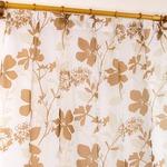 レースカーテン 2枚組 100×133 ブラウン 花柄 南国風 タッセル付き Lパスピエ
