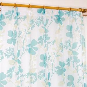 レースカーテン 2枚組 100×176 ブルー 花柄 南国風 タッセル付き Lパスピエ