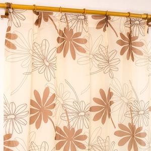 レースカーテン 2枚組 100×133 ブラウン ボタニカル柄 リーフ柄 タッセル付き Lプラム
