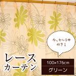 レースカーテン 2枚組 100×176 グリーン ボタニカル柄 リーフ柄 タッセル付き Lプラム