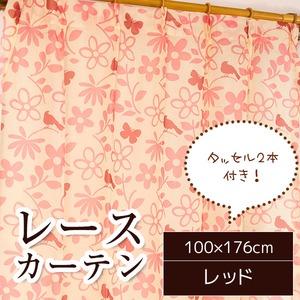 レースカーテン 2枚組 100×176 レッド 花柄 鳥 蝶 タッセル付き シルエットバード