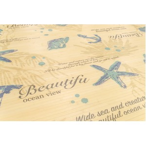 オーシャン柄 竹ラグマット/絨毯 【130cm×180cm ブルー】 長方形 丸巻き可 冷感 抗菌 調湿 クッション性 『プリントシェル』