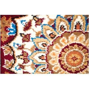 ウィルトン織 ラグマット/絨毯 【200cm×250cm レッド】 長方形 メダリオン柄 『ヘリオス』 〔リビング ダイニング〕