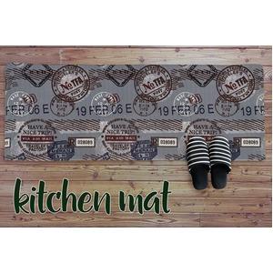 キッチンマット キッチン マット 台所 拭ける 塩化ビニール スタンプ 45×120cm グレー