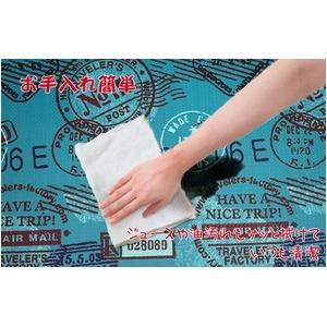 キッチンマット キッチン マット 台所 拭ける 塩化ビニール スタンプ 50×80cm ブルー