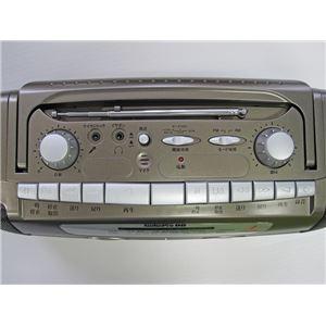 ダブルカセットデッキ/ラジカセ 【カラオケ用マイク付き】 集音機能 乾電池併用タイプ とうしょう TK-505