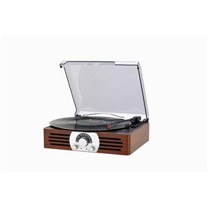 木製コンパクトレコードプレーヤー 【レトロ調モデル】 スピーカー内蔵 AM/FM受信 とうしょう TT-38