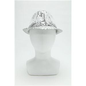 【コスプレ】 スパンコールハット /帽子 【シルバー】 ポリエステル製 頭囲約60cm 〔イベント 仮装 舞台小物〕