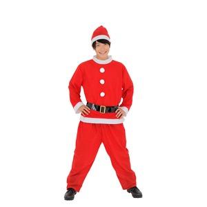 【クリスマスコスプレ】サンタさん/衣装 【メンズ用】 トップス・パンツ・ベルト・帽子 〔イベント 仮装 店頭販促〕
