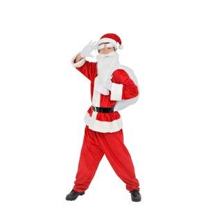 【クリスマスコスプレ】サンタクロース 【メンズ スタンダード】 トップス・パンツ・ベルト・帽子・グローブ・サンタ袋・眉毛・髭