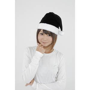 【クリスマスコスプレ】サンタ帽子 ブラックの写真1