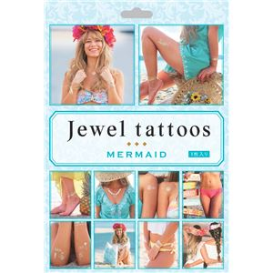 タトゥーシール/フェイクタトゥー 【MERMAID】 水だけで貼れる 『jewel tattoos』 〔コスプレ 仮装 イベント〕