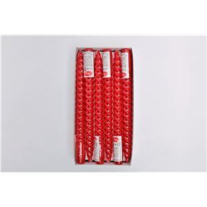 10インチ スパイラルキャンドル 【12本セット 赤】 長さ約25cm 燃焼約6h 『シュリンク』 〔イベント バースデー〕