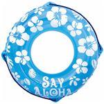 浮き輪 【70cm】 ブルー ハイビスカス柄 塩化ビニール樹脂製 〔プール ビーチ 海外旅行〕の画像