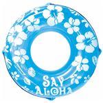 浮き輪 【120cm】 ブルー ハイビスカス柄 塩化ビニール樹脂製 〔プール ビーチ 海外旅行〕の画像