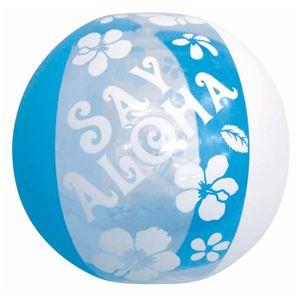 ビーチボール 【60cm】 ブルー ハイビスカス柄 塩化ビニール樹脂製 〔プール ビーチ 海外旅行〕