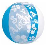 ビーチボール 【60cm】 ブルー ハイビスカス柄 塩化ビニール樹脂製 〔プール ビーチ 海外旅行〕の画像