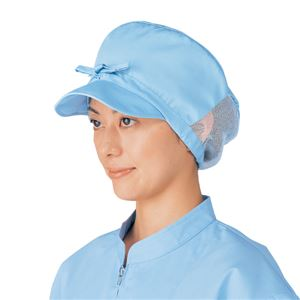 工場用白衣/ユニフォーム【婦人帽子サックス】前ひも調整抗菌・制電機能付き『workfriend』SK228