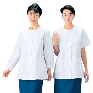 workfriend 調理用白衣女子衿無長袖 SKA333 Mサイズ