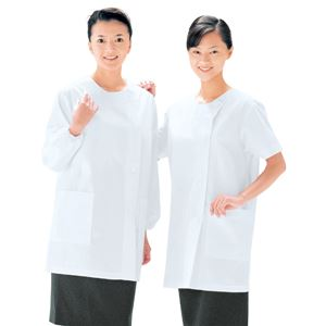 workfriend調理用女子衿無横掛白衣長袖SKA785Mサイズ