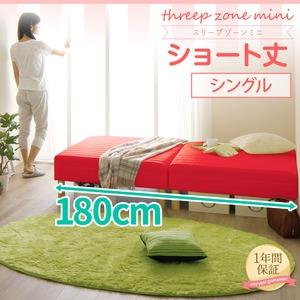 ショート丈 脚付きマットレスベッド 脚15cm シングル 3ゾーン構造(ポケットコイル使用) 『スリープゾーン ミニ』 レッドピンク 分割式 【1年保証】