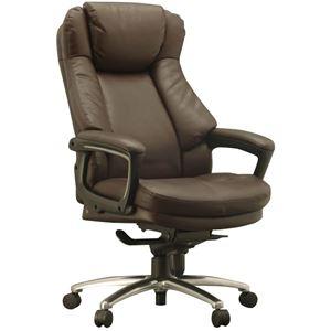 ハイバックオフィスチェア/デスクチェア 【ブラウン】 座面ポケットコイル使用 張地:合成皮革 肘付き 『スリンスキー』 - 拡大画像