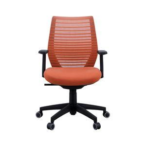 座面昇降式オフィスチェア/デスクチェア 【肘付き×オレンジ】 メッシュ素材 リクライニング キャスター付き 『ビートル』