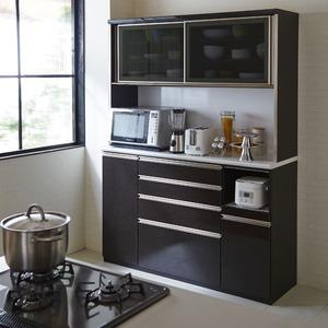 【開梱設置費込】食器棚 TRシリーズ 150cm幅 ダイニングボード キッチンボード 黒木目 ハイグロス 【日本製】