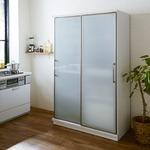 【開梱設置費込】食器棚 ACシリーズ 122cm幅 目隠し収納 キッチンボード ガラス戸 【日本製】