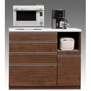 【開梱設置費込】キッチンカウンター ESシリーズ 120cm幅 レンジ台 ウォールナット色 ハイタイプ 【日本製】