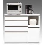 【開梱設置費込】キッチンカウンター ESシリーズ 120cm幅 レンジ台 ホワイト色 ハイタイプ 【日本製】