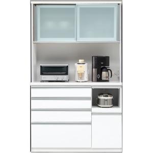 【開梱設置費込】食器棚 RNシリーズ 120cm幅 ダイニングボード キッチンボード 白木目 ハイグロス 【日本製】 - 拡大画像