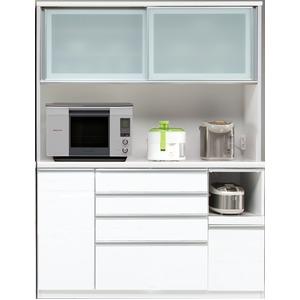 【開梱設置費込】食器棚 RNシリーズ 150cm幅 ダイニングボード キッチンボード 白木目 ハイグロス 【日本製】 - 拡大画像