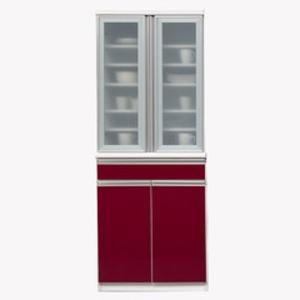 【開梱設置費込】食器棚 NTLシリーズ 70cm幅 高さ180cm ダイニングボード ワインレッド ハイグロス 【日本製】 - 拡大画像