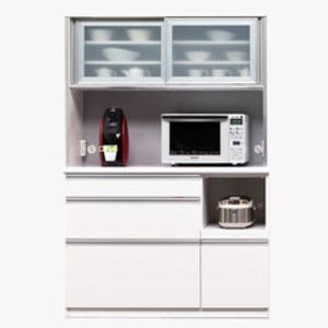 【開梱設置費込】食器棚 NTLシリーズ120cm幅 高さ180cm ダイニングボード ホワイト ハイグロス 【日本製】 - 拡大画像