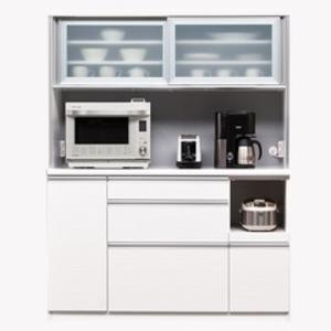 【開梱設置費込】食器棚 NTLシリーズ140cm幅 高さ180cm ダイニングボード ホワイト ハイグロス 【日本製】 - 拡大画像