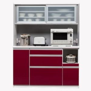 【開梱設置費込】食器棚 NTLシリーズ140cm幅 高さ180cm ダイニングボード ワインレッド ハイグロス 【日本製】 - 拡大画像