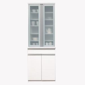 【開梱設置費込】食器棚 NTHシリーズ 70cm幅 高さ200cmダイニングボード  ホワイト ハイグロス 【日本製】 - 拡大画像