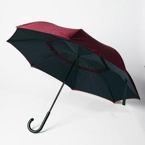 逆さに開く二重傘/アンブレラ 【ブラック×レッド】 晴雨兼用 自立可 『Circus サーカス』 - 拡大画像