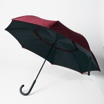 逆さに開く二重傘/アンブレラ 【ブラック×レッド】 晴雨兼用 自立可 『Circus サーカス』