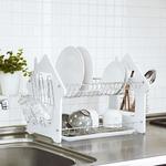 2段式ディッシュラック/水切りかご 【ホワイト】 ステンレス製 サイドラック付き 『La Cuisine ラ・クイジーヌ』