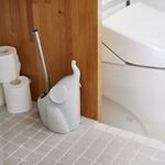 エレファント型トイレブラシ/掃除用具 【グレー】 ステンレス製持ち手 セラミック製ホルダー 『Dieu de toilette』