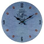 モチーフクロック/壁掛け時計 【Lサイズ/COFFEE BREAK-blue- コーヒー ブレイク ブルー】 直径33cm