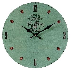 モチーフクロック/壁掛け時計 【Lサイズ/COFFEE BREAK-green- コーヒー ブレイク グリーン】 直径33cm